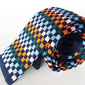 🌸 Checkers Knit Tie, Handmade Nerdy Necktie 🌸